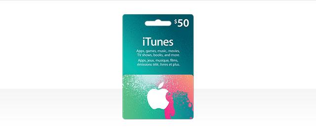 Carte iTunes 50 $ coupon