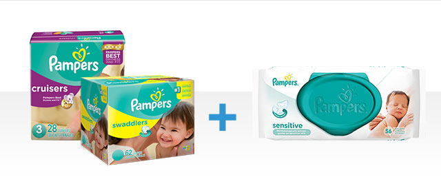 COMBO: Pampers® Swaddlers or Cruisers Diapers + Pampers® Wipes coupon