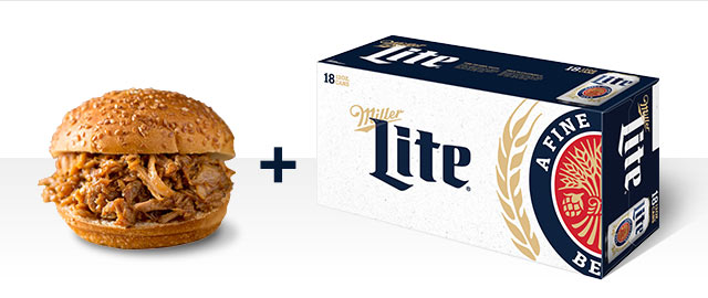 At Select Retailers Combo: Miller Lite + Pork coupon