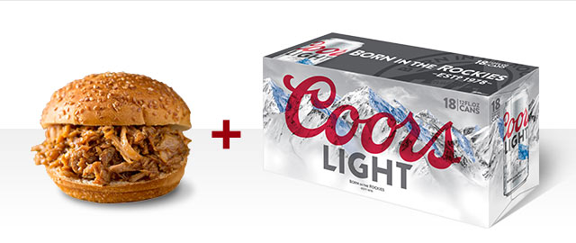 At Select Retailers Combo: Coors Light + Pork coupon